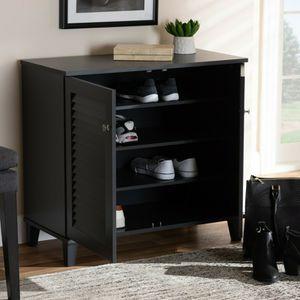 Baxton Studio Coolidge Modern Dark Grey 4-Shelf Shoe Cabinet for Sale in Houston, TX