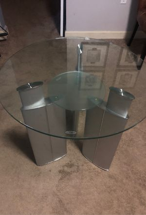 Console table tempered glass, silver metal holder $80 for Sale in Washington, DC
