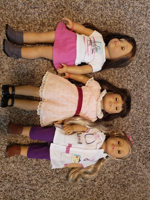 """3 American girl dolls 18"""" with lots of accessories for Sale in Gastonia, NC"""