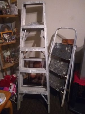 Werner 6 ft aluminum stepladder and painters step ladder both good condition no low balls for Sale in Columbus, OH