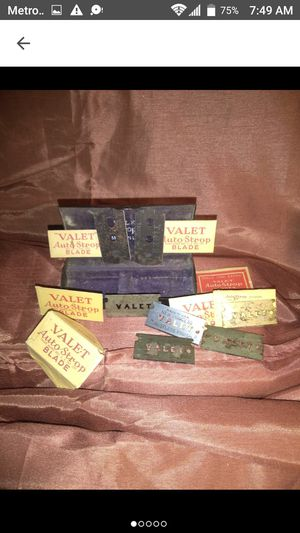Vintage Valet Auto Strap Razor Blades for sale  Metal Case for Sale