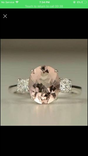Sterling silver plated 6.25 morganite ring size 6,7,9 available for Sale in Silver Spring, MD