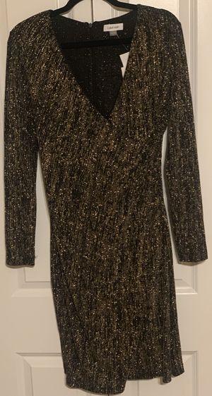 Calvin Klein Women's Black Gold Glitter V-neck Sheath Dress Size 10 NWT for Sale in Philadelphia, PA