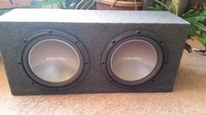 "2 12"" Kenwood subwoofers w/ box and amp for Sale in Severna Park, MD"
