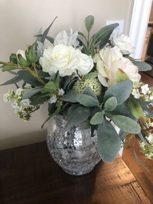 Faux flower bouquet with vase for Sale in Sandy, UT