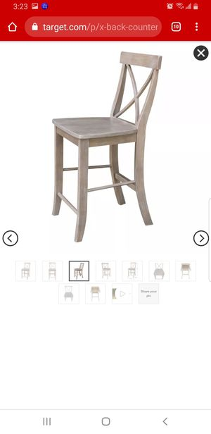 X Back Counter Height Barstool Washed Gray Taupe - International Concepts for Sale in Olmsted Falls, OH