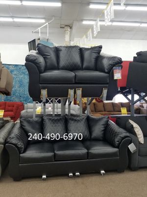 No credit needed 100 days no interest Ashley Furniture black door of the material sofa and loveseat for Sale in Takoma Park, MD