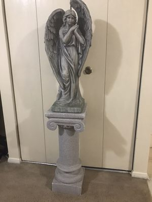 """2 pc of 34"""" tall statue hallow cement angel with 30"""" tall heavy pedestal stand still available for pick up in Gaithersburg md20877 for Sale in Gaithersburg, MD"""