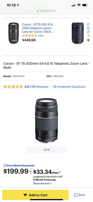 Camera lens Canon - EF 75-300mm for Sale in New York, NY