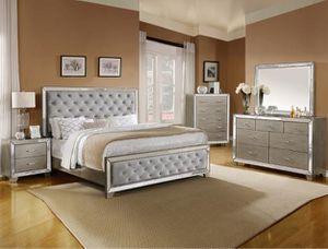 Bedroom set Queen bed +Nightstand +Dresser +Mirror. Mattress not included for Sale in Jurupa Valley, CA