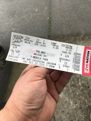 "2 tickets to see ""The Who"" live in Seattle for Sale in Damascus, OR"