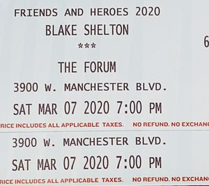 Blake Shelton, 2 Tickets for Sale in Upland, CA