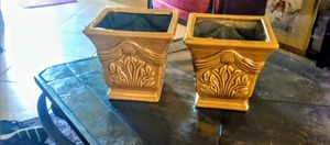 Two ceramic Flower Pots. Detailed Gold design for Sale in Riverview, FL