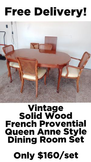 Vintage Solid Wood French Provincial Queen Anne Style 5 Piece Dining Table Set w/ Free Delivery! for Sale in Phoenix, AZ