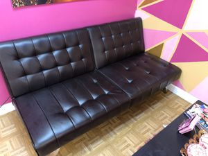 Black Leather Futon for Sale in Indianapolis, IN