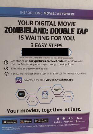 Zombieland 2 Double Tap Digital Movie Redemption Code for Sale in Los Angeles, CA