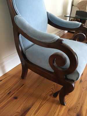 Vintage Blue Suede Accent Chair for Sale in Miami, FL