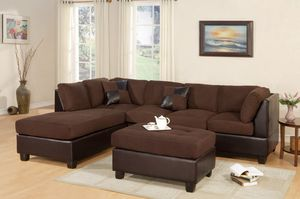 3 PCS SECTIONAL SOFA MICROFIBER CHOCOLATE for Sale in Hialeah, FL
