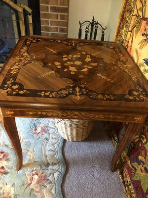 Vintage Italian wood inlay game table for Sale in Colorado Springs, CO