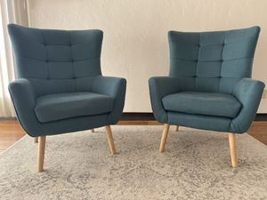 Mid-Century Modern Club Chairs (2), Dark Teal for Sale in Albany, CA