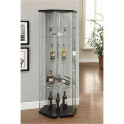 4-Shelf Glass Hexagon Shaped Curio Display Cabinet Tower Black And Clear 950276 for Sale in Missouri City,  TX