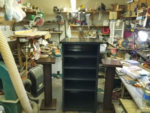 Entertainment center with speaker stands for Sale in Roanoke, VA