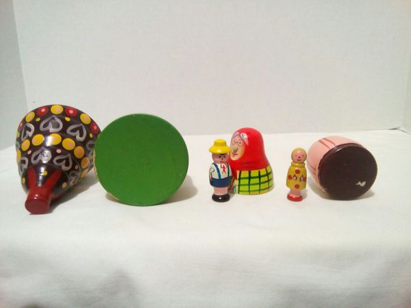 Russian Matryoshka Wooden Nesting Dolls Toy Hand Painted 6 pcs