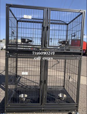 Double stackable dog pet cage kennel size 43 with divider tray and feeding bowls new in box 📦 for Sale in Chino, CA