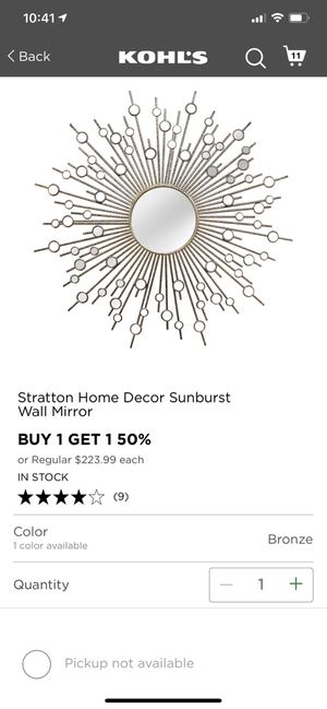 Sunburst wall mirror for Sale in IND HEAD PARK, IL