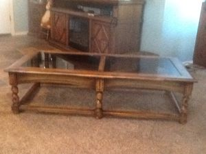 Coffee Table With Smoke Glass Inserts Good Condition $100 for Sale in Phoenix, AZ