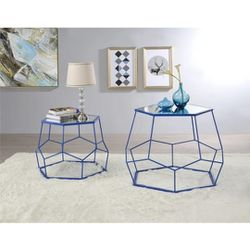 Contemporary Metal Nesting Accent Table Set in Blue Finish for Sale in Ontario,  CA