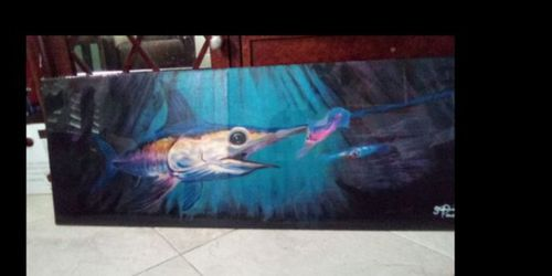 Swordfish chasing squid by the light of the moon on wood fishing boat patio tiki bar nautical marine art for Sale in Miami,  FL