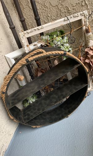 Home decor modern wall hanging decorative tin shelves with rope. House warming gift decoration rustic for Sale in West Hollywood, CA