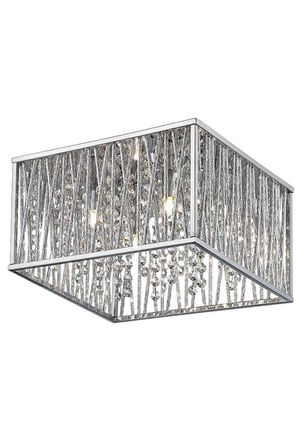 """Beautiful Chrome and Crystal 4 Light Fixture - Flush Mount - 16"""" x 16"""" x 7.5"""" - NEW! Cost $220 for Sale in Joliet, IL"""