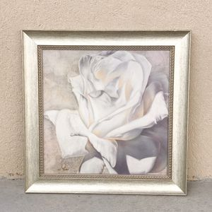 White Rose Wall Art Picture with Frame Home Decor for Sale in Unionville, NC