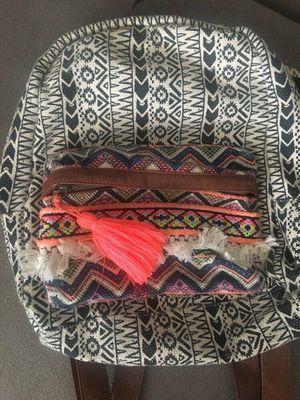 Gabriella Rocha backpack fringe Pom Pom purse bag bohemian mexican blanket theme geometric school girl for Sale in San Diego, CA