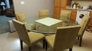 Marble base 6' diameter beveled glass table for Sale in Denver, IA