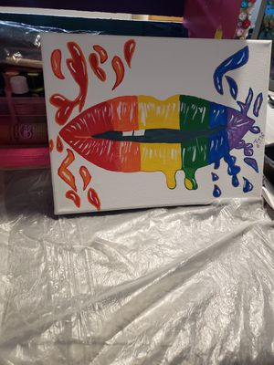 Rainbow Lips Canvas for Sale in Baltimore, MD