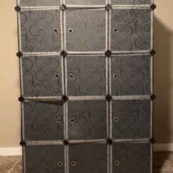 15-Cube DIY Shoe Rack, Storage Drawer Unit Multi Use Modular Organizer Plastic Cabinet with Doors, Black and White Curly Pattern for Sale in Bothell,  WA