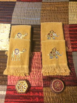 4 Moroccan Style Fingertip Towels and 2 Jeweled Boxes for Sale in Hampton, VA