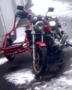 suzuki motorcycle with quality custom sidecar red for Sale in Portland, OR
