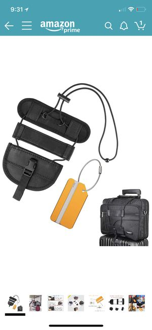 Luggage Straps Bag Bungee Adjustable Suitcase Belt with Travel Tags Label Accessories (Black) for Sale in San Francisco, CA
