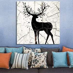 ((FREE SHIPPING)) square canvas wall art - folliage deer wood effect canvas - giclee print gallery wrap modern home decor Painting like print for Sale in Lafayette, CA