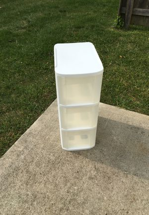 """Sterlite 3-drawer plastic storage bin 15 3/4"""" D x 10"""" W x 24 3/4"""" T outside dimensions for Sale in Westerville, OH"""