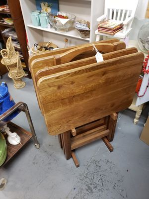 TV trays set of 4 with stand wood for Sale in Grayson, GA