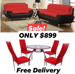 new 5pcs dining room set in box new sofa and loveseat in box free delivery for Sale in Fort Lauderdale,  FL
