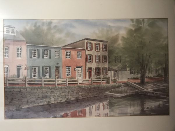Georgetown Canal painting with frame