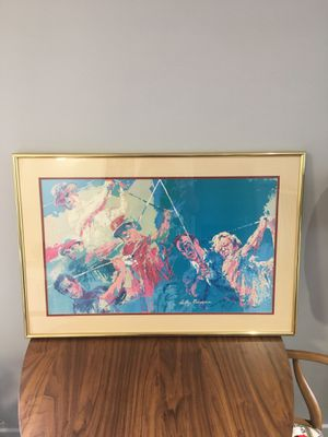 LeRoy Neiman Golf Champions Lithograph in gold frame for Sale in San Diego, CA