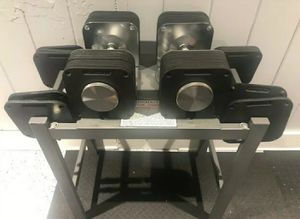 Used, Ironmaster Quick-Lock Adjustable 150 LB Dumbbells with the stand for Sale for sale  Brooklyn, NY