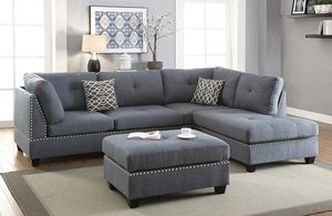 Brand New! 4 Piece Gray Luxury Sectional With Ottoman for Sale in Orlando, FL